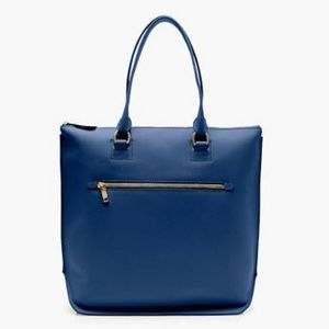 J.Crew Tall Crosley Tote Bag Purse Navy Leather